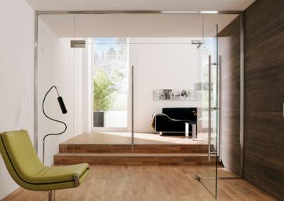 Uși din sticlă cu supralumină cu feronerie Dorma Arcos Universal DRM