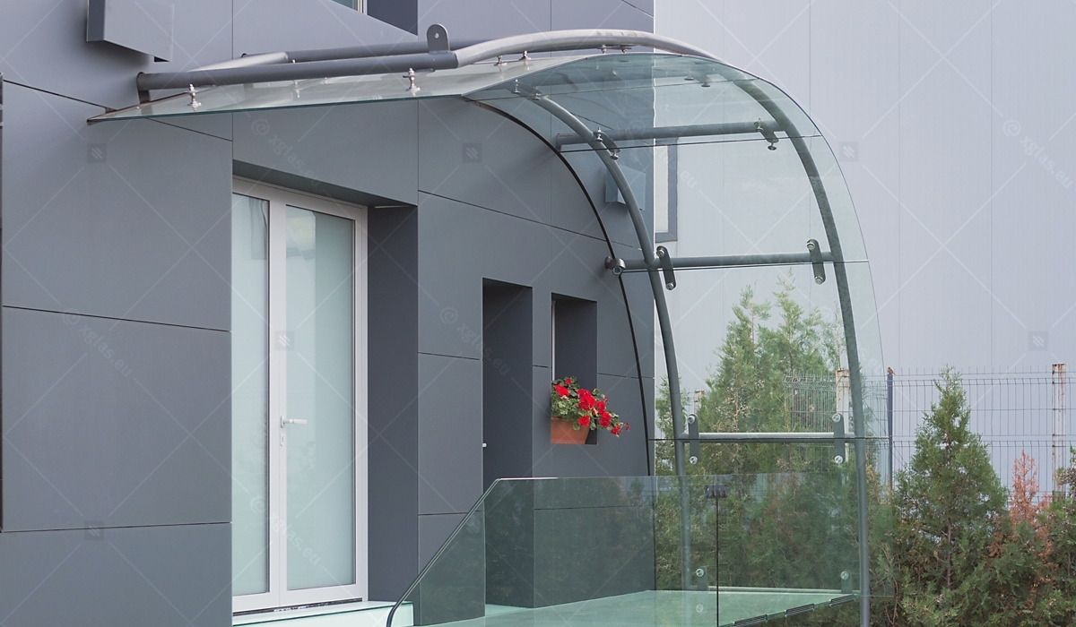 EVOLAM CONTOUR Laminated Curved Glass Canopies Lat