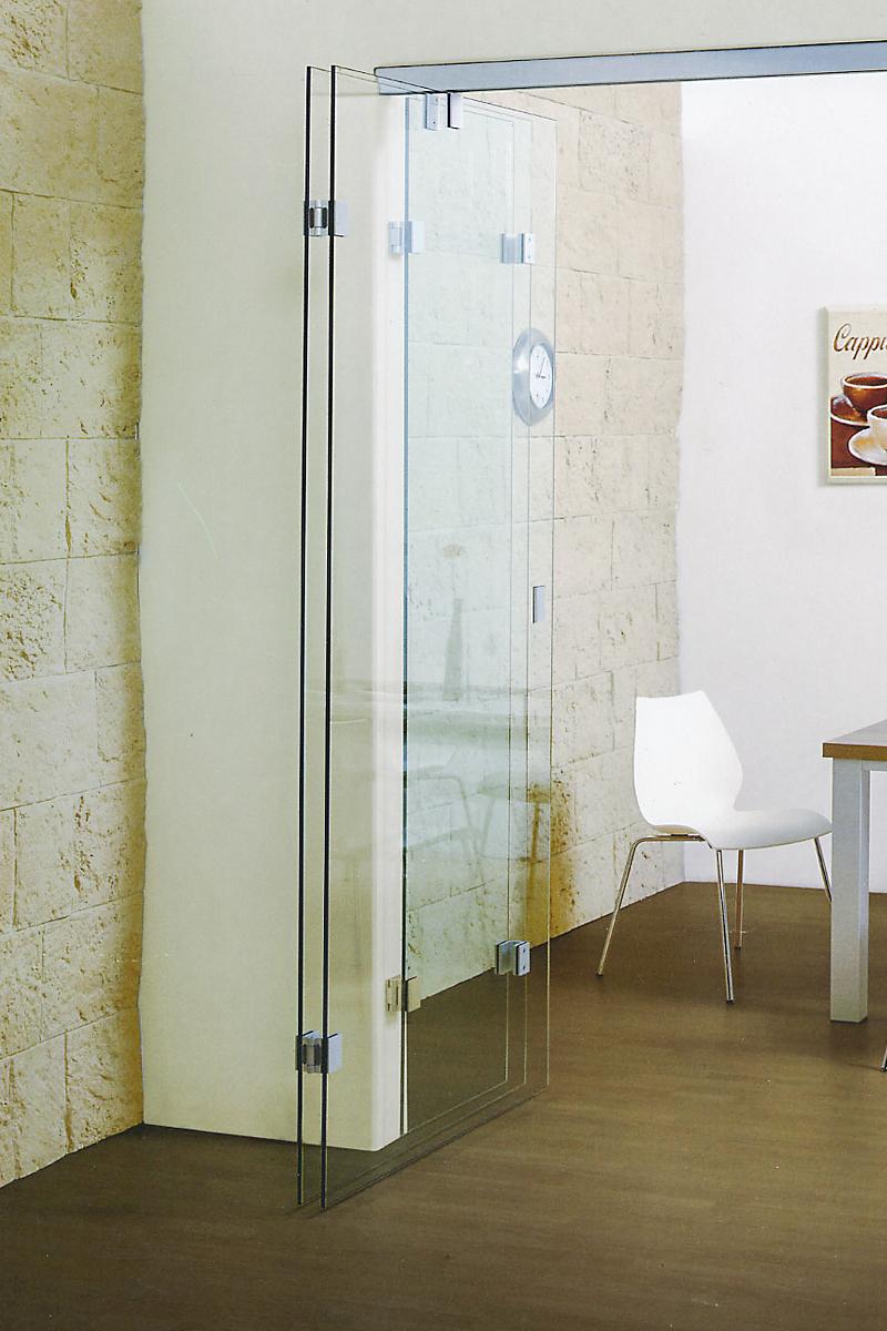 Ușă armonica din sticlă cu flexare pe mijlocul foii Faltus 02