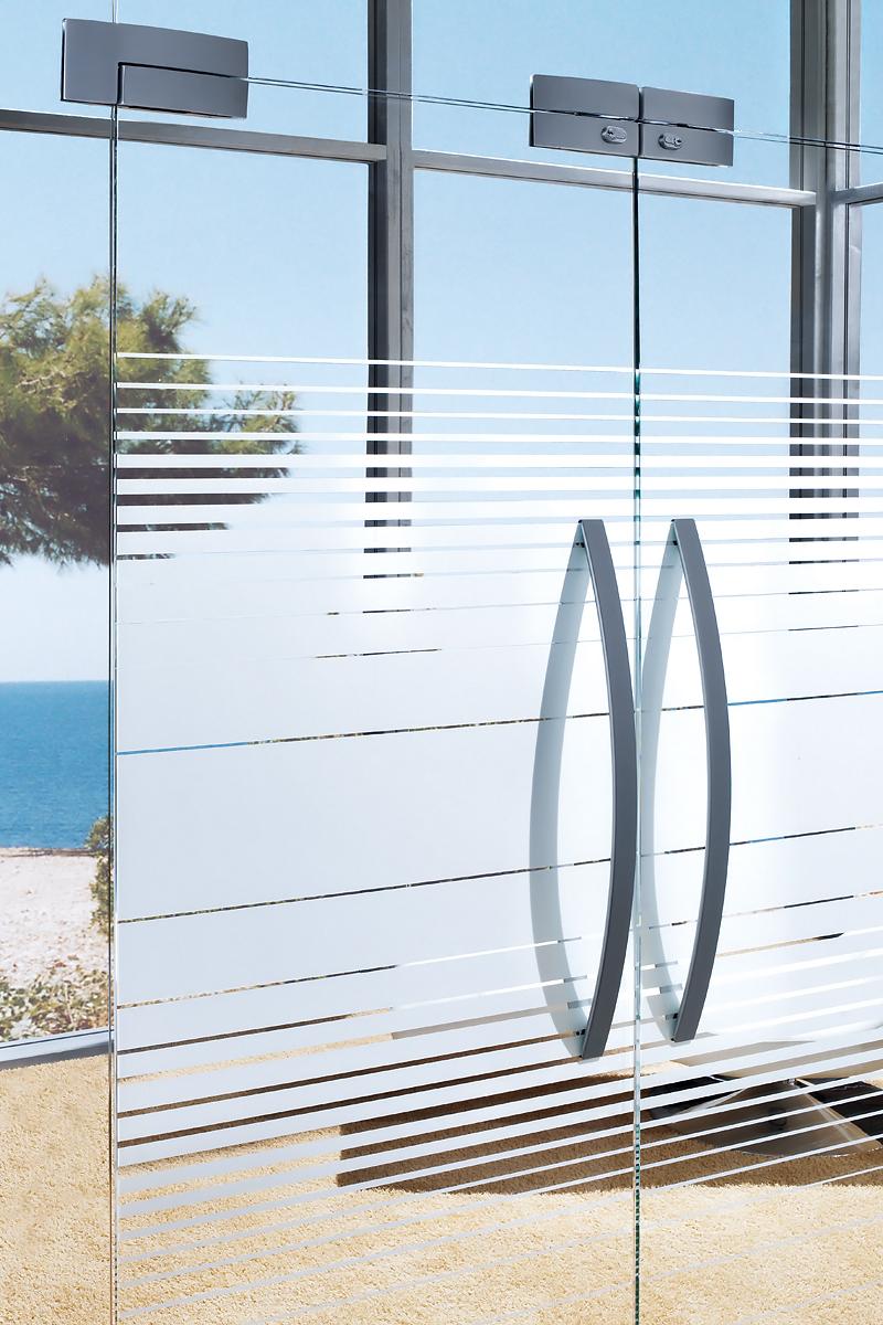 Ușă din sticlă batantă cu supralumină cu feronerie Dorma Arcos Universal DRM 01