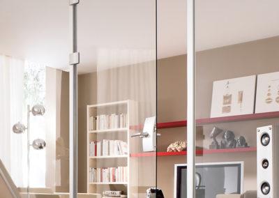 Ușă din sticlă cu inchidere pe toc aluminiu cu feronerie Dorma Arcos Office DRM 01