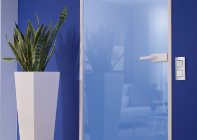 Ușă din sticlă cu inchidere pe toc aluminiu cu feronerie Dorma Studio Gala DRM 01