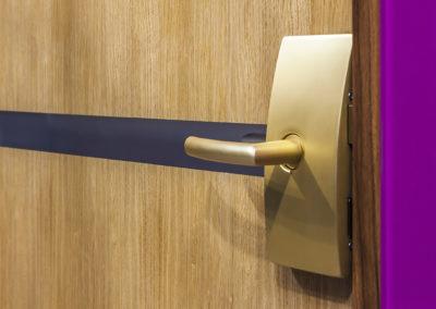Detaliu ușă din sticlă cu insert de furnir natural cu feronerie Dorma Arcos Office eloxat auriu Gex 01