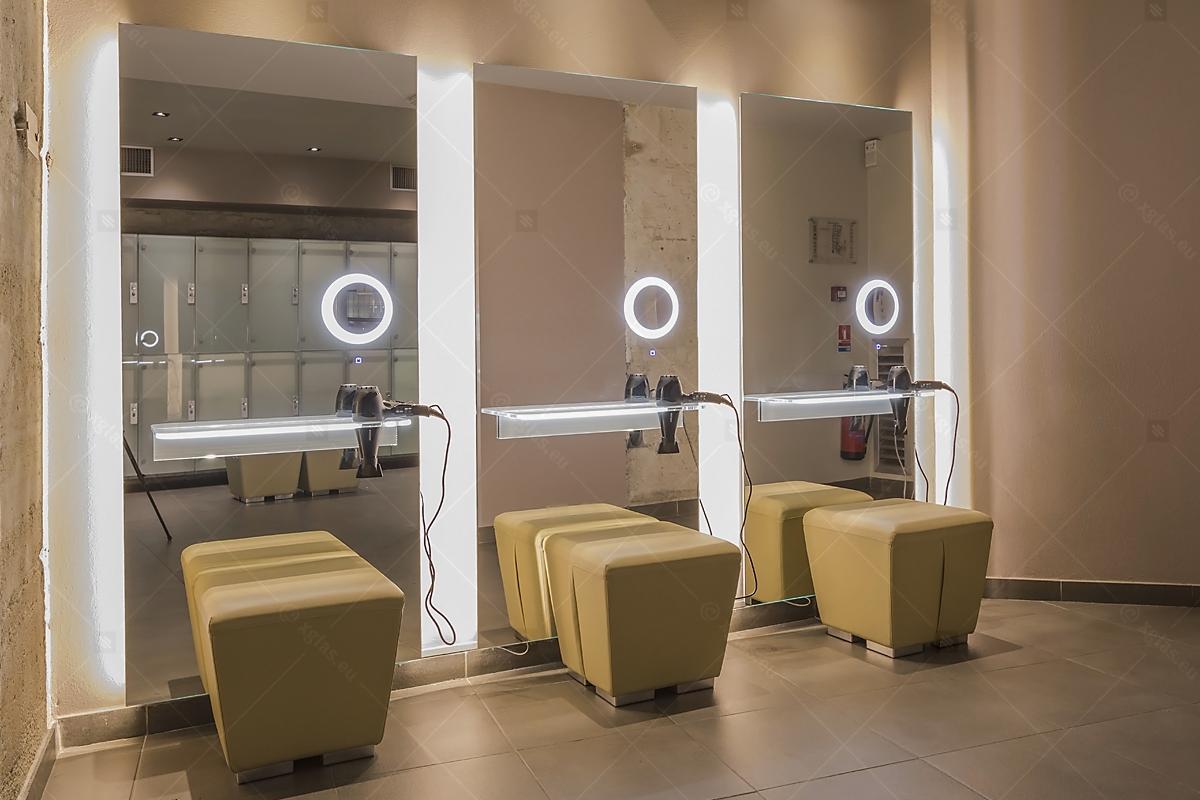 Oglinzi cu poliță iluminată LED cu suport de uscător de păr 11